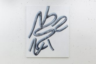"Michael Debatty, ""Fibula"", 2016, acrylic, airbrush on canvas, 10 × 120 cm – photo © Romain Darnaud"
