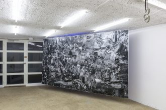 "Julia Kremer, ""Jardin des délices"", 2016, photocopies and adhesive tape, 380 × 210cm – photo © Romain Darnaud"